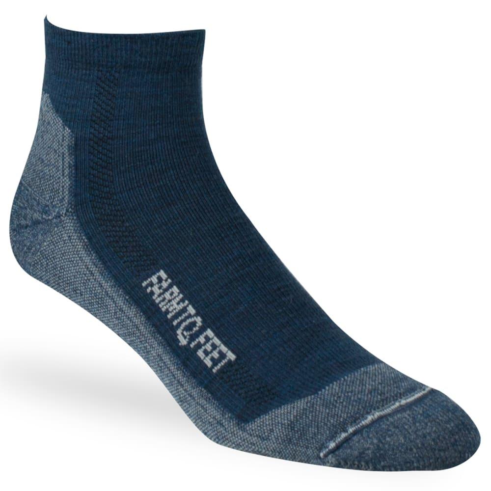 FARM TO FEET Men's Denver Quarter Crew Lightweight Technical Trail Socks - DENIM BLUE-420