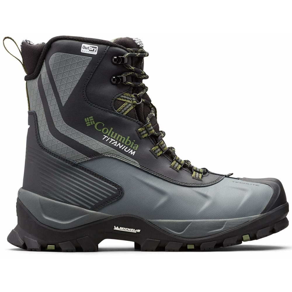 COLUMBIA Men's Powderhouse Titanium Omni-Heat 3D OutDry Boot - BLACK/MOSSTONE 010