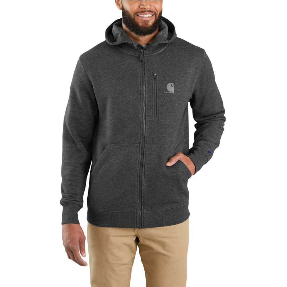CARHARTT Men's Force Delmont Graphic Full-Zip Hooded Sweatshirt - 013 BLACK HTHR