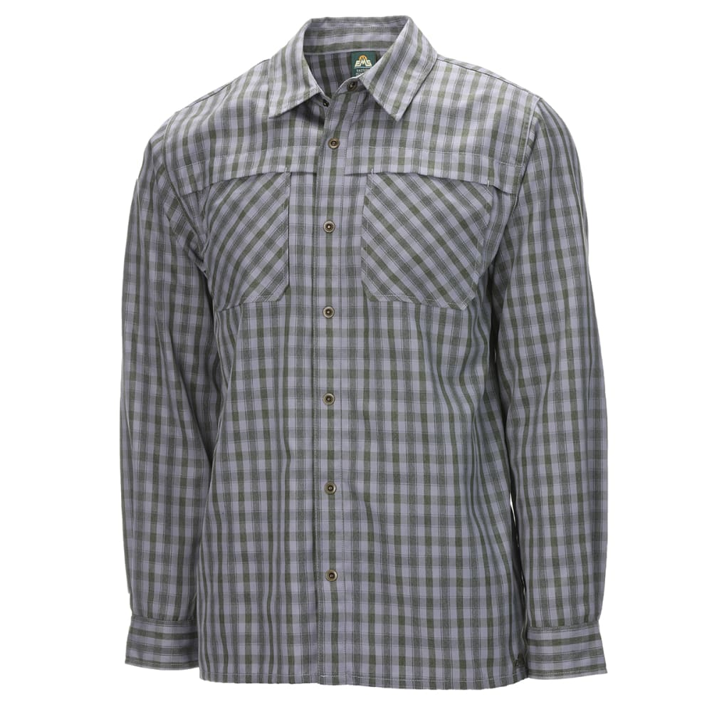 EMS Men's Quinnipiac Tech Flannel Long Sleeve Shirt - PESTO PLAID