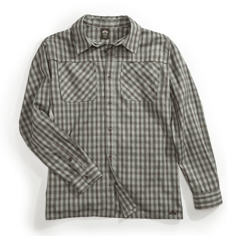 EMS Men's Quinnipiac Tech Flannel Long Sleeve Shirt - PESTO PLAID