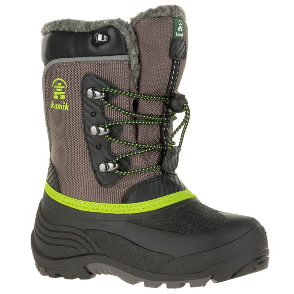 KAMIK Kids' Luke Snow Boots - CHARCOAL/LIME-CHA