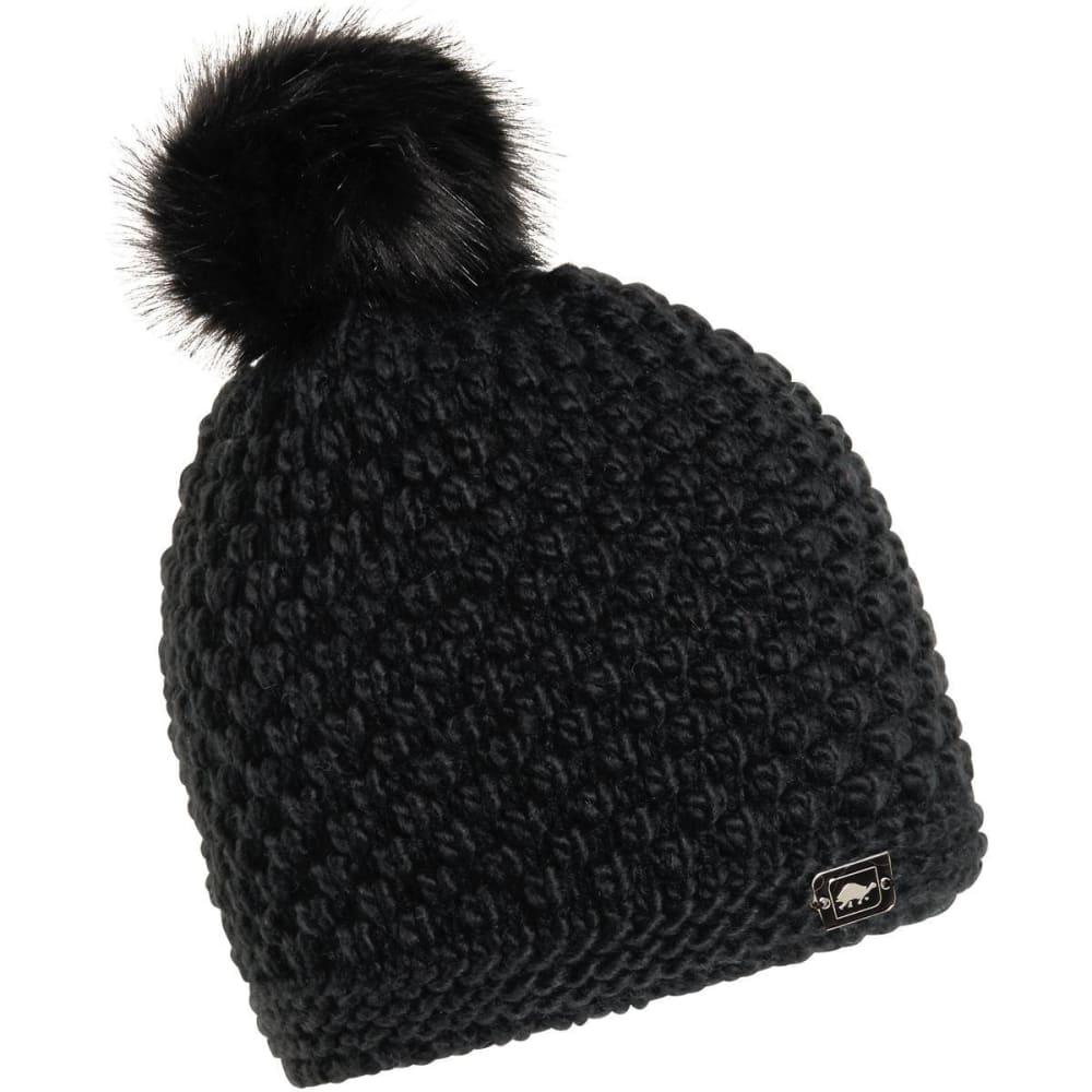 TURTLE FUR Women's Snowfall Fleece-Lined Pom Beanie - 101 BLACK