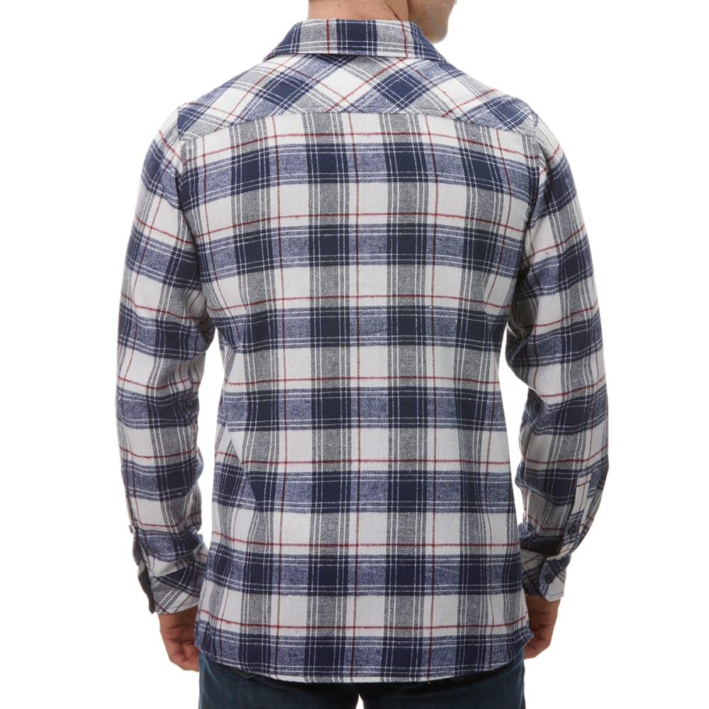BURNSIDE Men's Plaid Flannel Shirt - NAVY WHITE