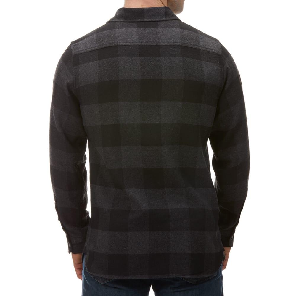BURNSIDE Young Men's Long-Sleeve Buffalo Plaid Shirt - BLACK