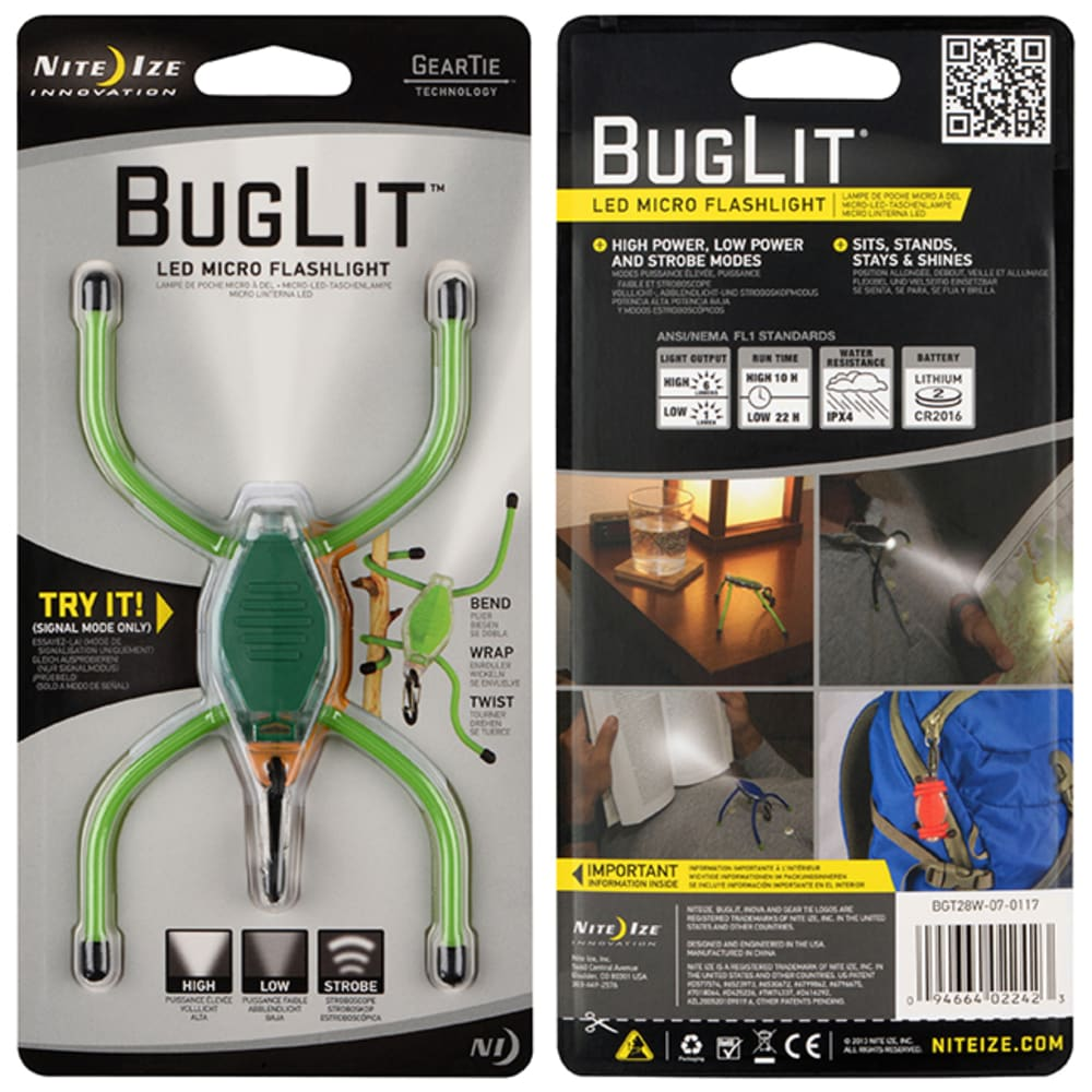 NITE IZE BugLit LED Micro Flashlight - LIME/BLACK