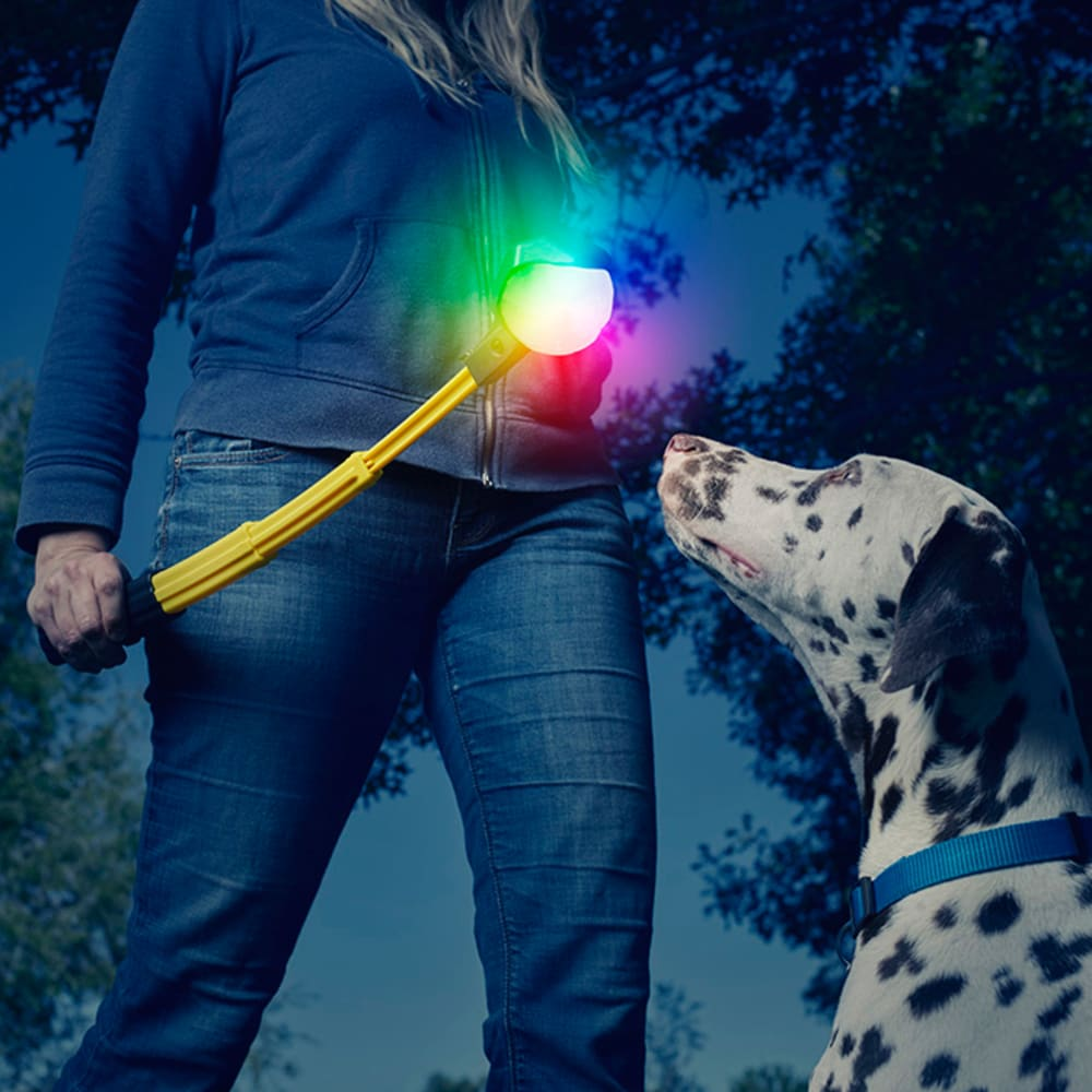 NITE IZE Huck 'N Tuck GlowStreak Collapsible Thrower & LED Ball Dog Toy - NO COLOR