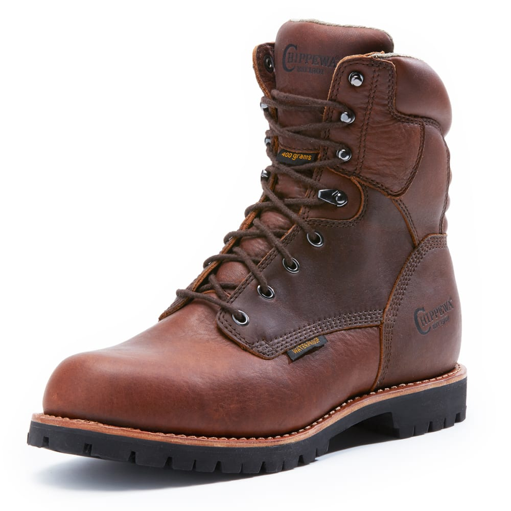 CHIPPEWA Men's 8 Inch 75312W Waterproof 400 GRM Boots, Wide - BROWN