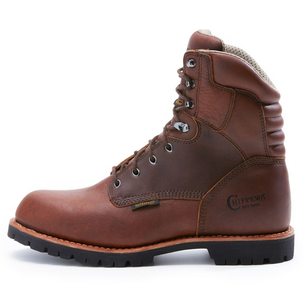 CHIPPEWA Men's 8 Inch 75312 Waterproof 400 GRM Work Boots - BROWN