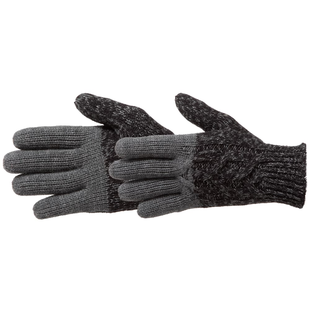 MANZELLA Women's Color Block Cable Knit Gloves - BLACK