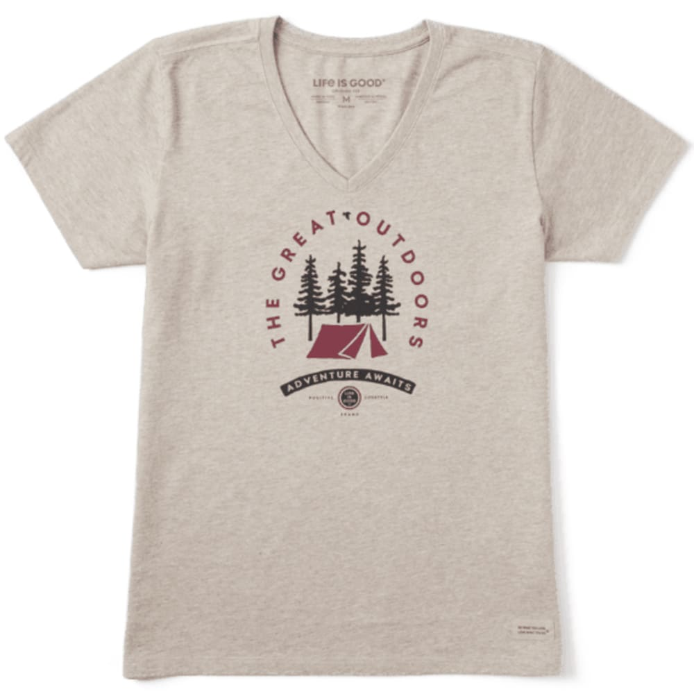 LIFE IS GOOD Women's V-Neck Adventure Awaits Crusher Tee - HTR MCH