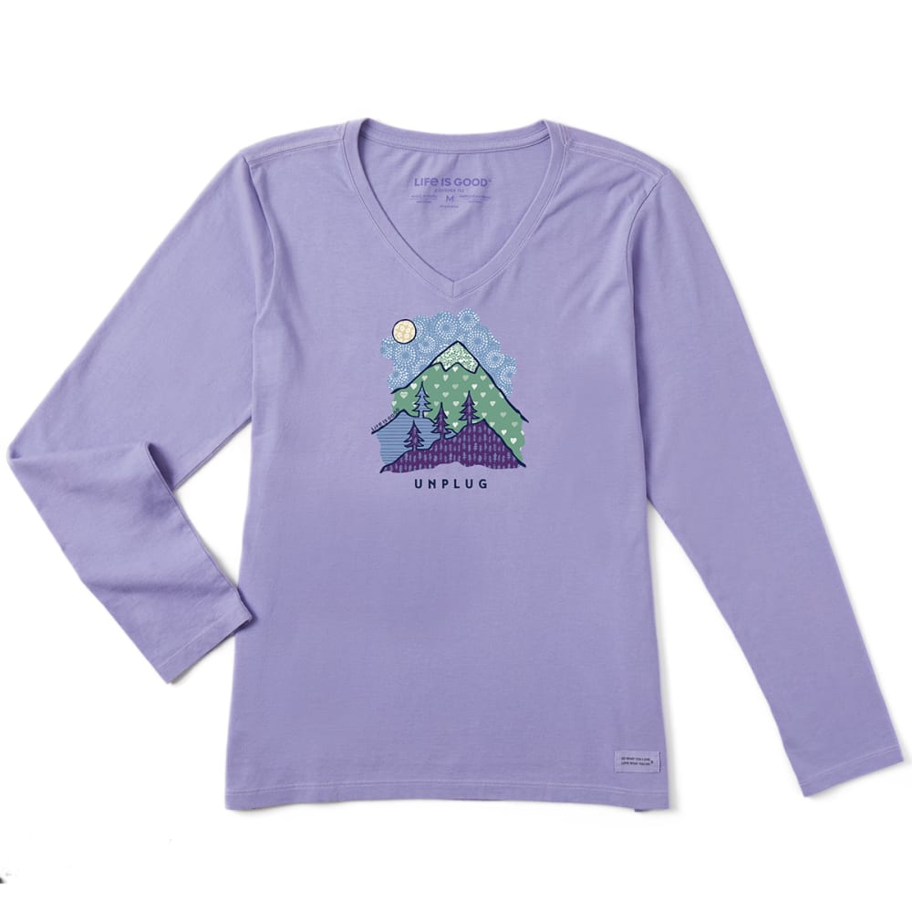 LIFE IS GOOD Women's Unplug Mountain Long-Sleeve Crusher Tee - MISTY PURPLE
