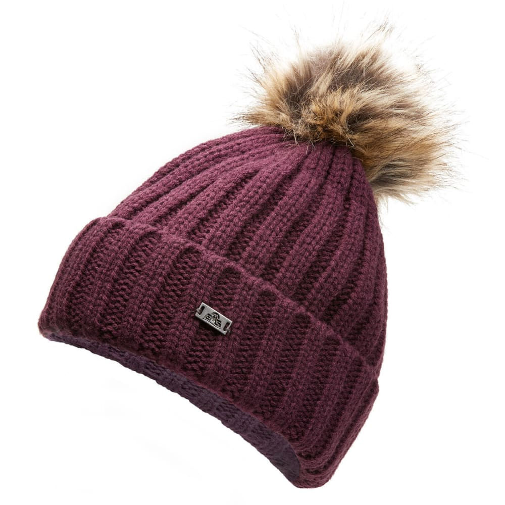 EMS Women's Believe Pom Beanie - WINE - 508