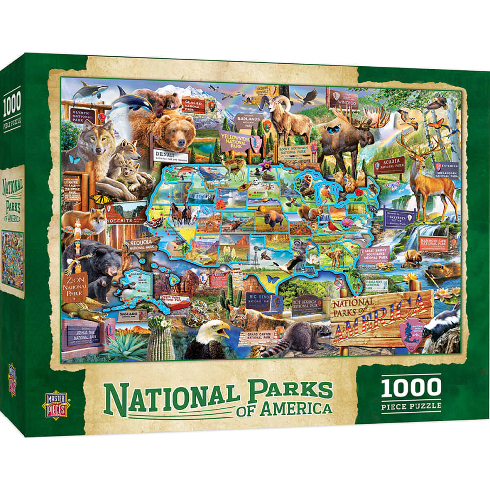 MASTER PIECE PUZZLE CO. National Parks of America 1,000 Piece Puzzle - NO COLOR