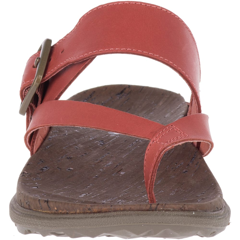 MERRELL Women's Around Town Luxe Buckle Thong Sandals - REDWOOD J97402
