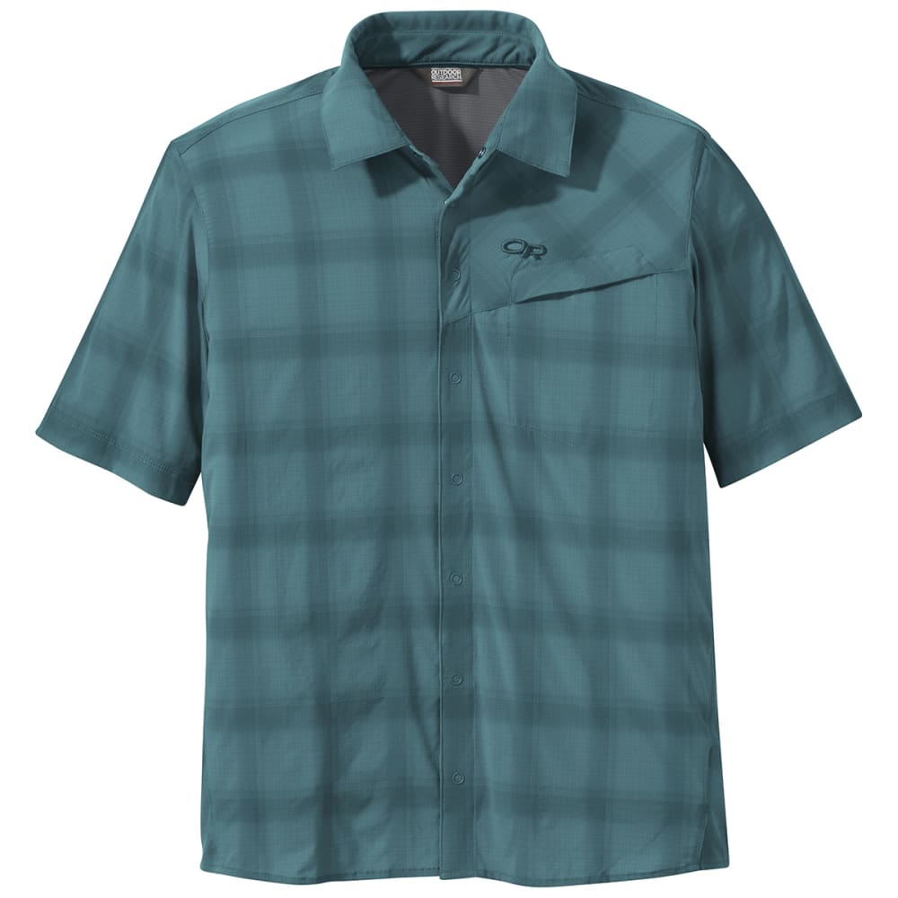 OUTDOOR RESEARCH Men's Astroman Short-Sleeve Sun Shirt - 1272 WASHED PEACOCK