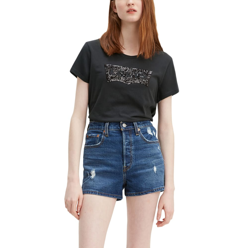 LEVI'S Women's Logo Perfect Short-Sleeve Tee - METORITE SEQUIN-0683