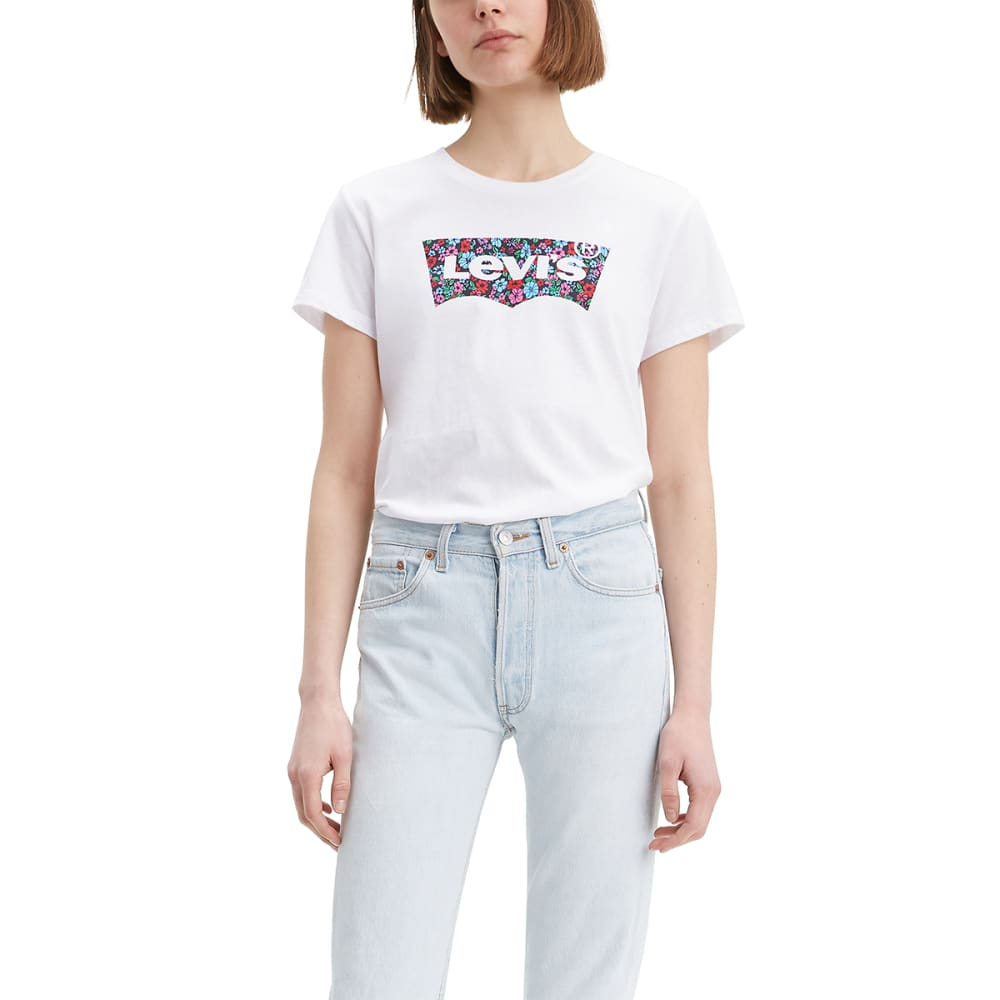 LEVI'S Women's Logo Perfect Short-Sleeve Tee - WHITE FLORAL -0715