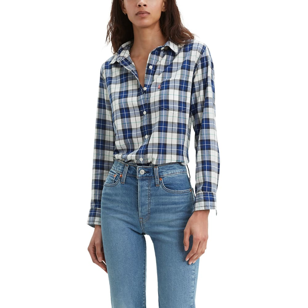 LEVI'S Women's Ultimate Boyfriend Button Back Long-Sleeve Shirt - SODALITE BLUE-0003