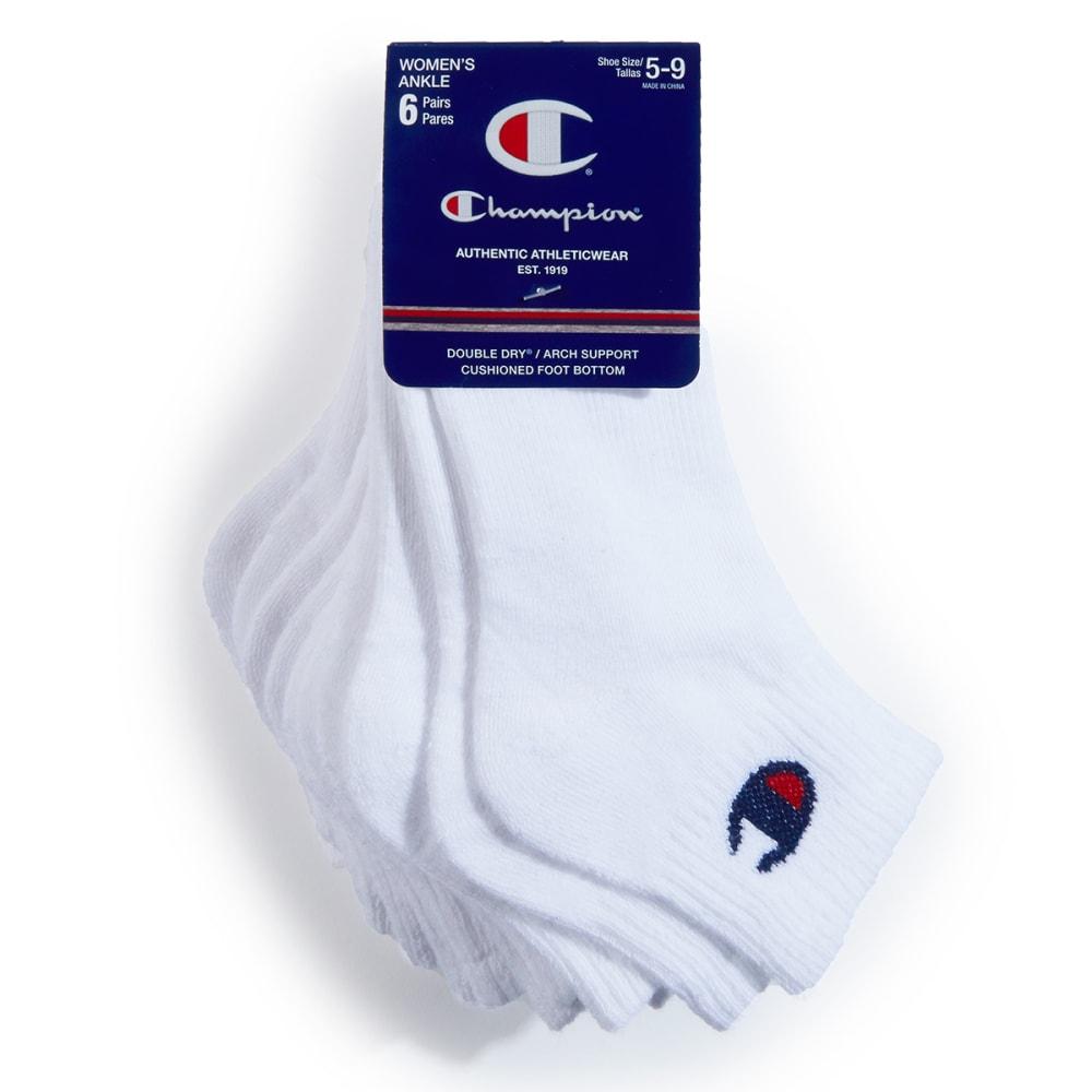 CHAMPION Women's Ankle Socks, 6 Pack 9-11