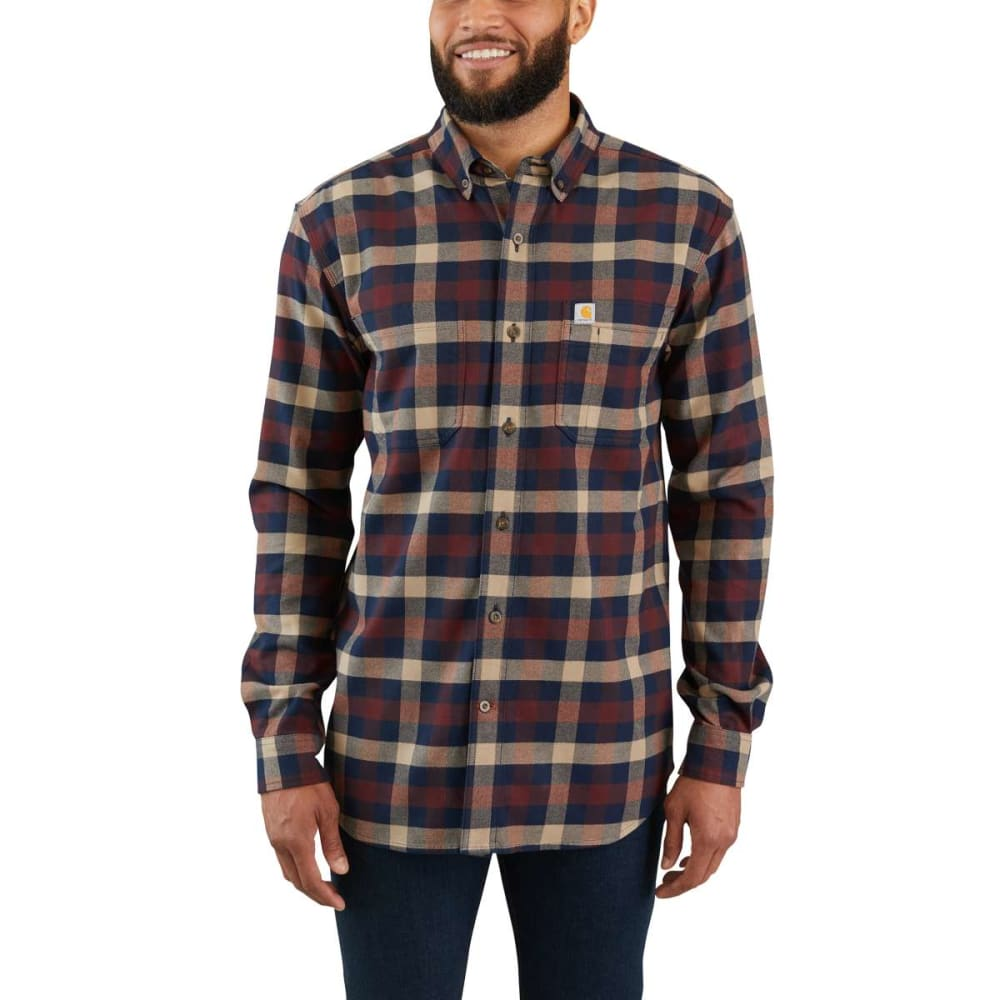 CARHARTT Men's Rugged Flex Hamilton Long-Sleeve Plaid Shirt, Extended Sizes 2XLT