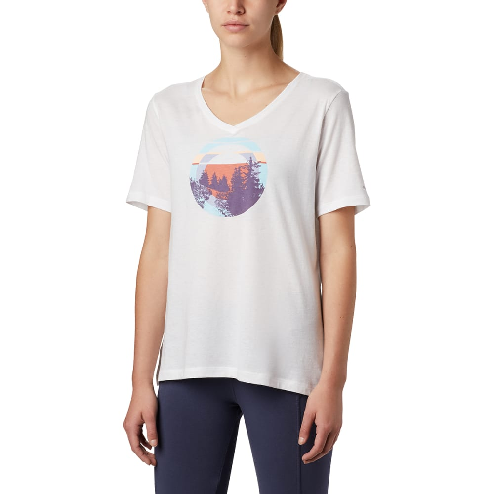 COLUMBIA Women's Short-Sleeve Mount Rose Relaxed Tee - 100 WHITE HEATHER