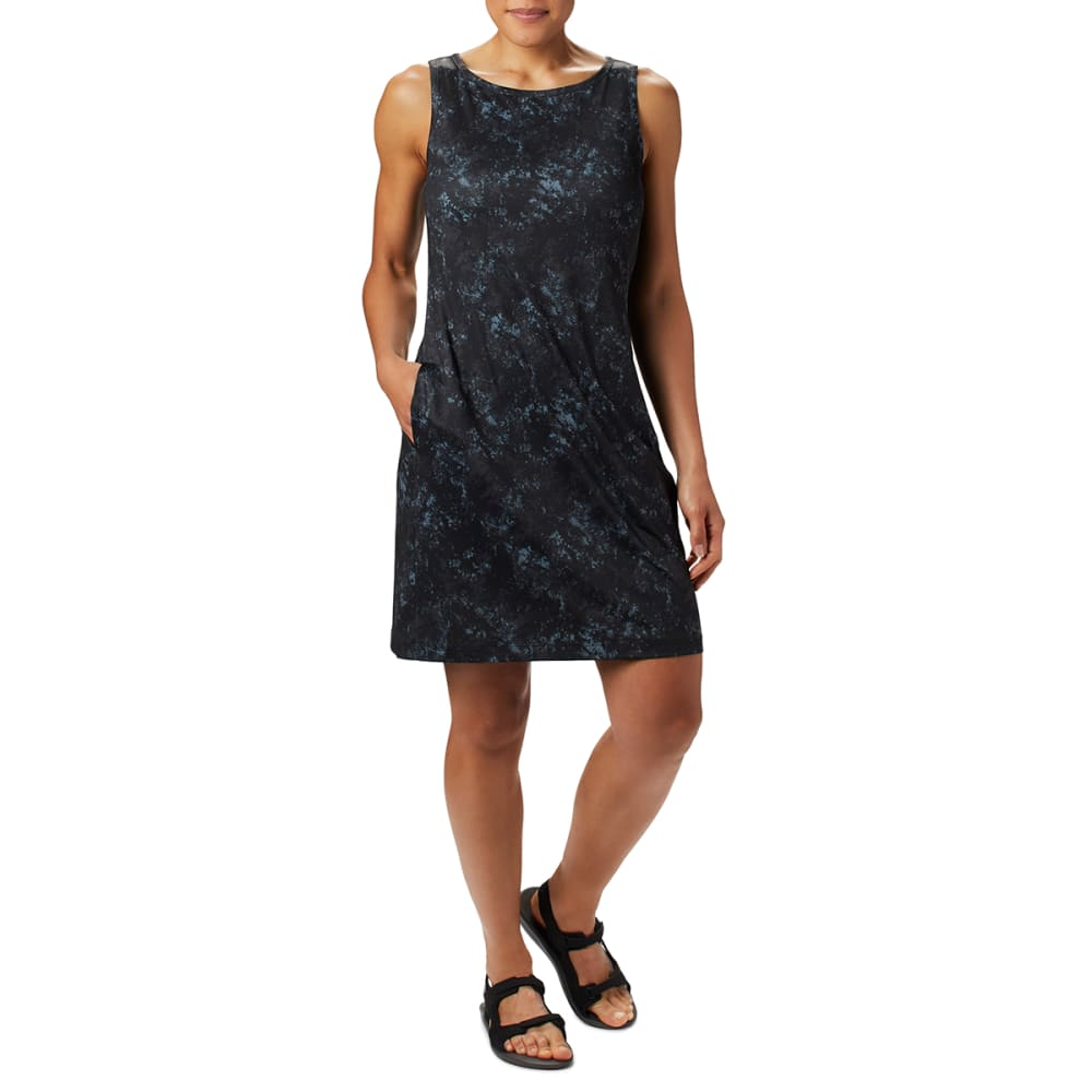 COLUMBIA Women's Chill River Printed Dress - 010 BLACK RUBBED TEX