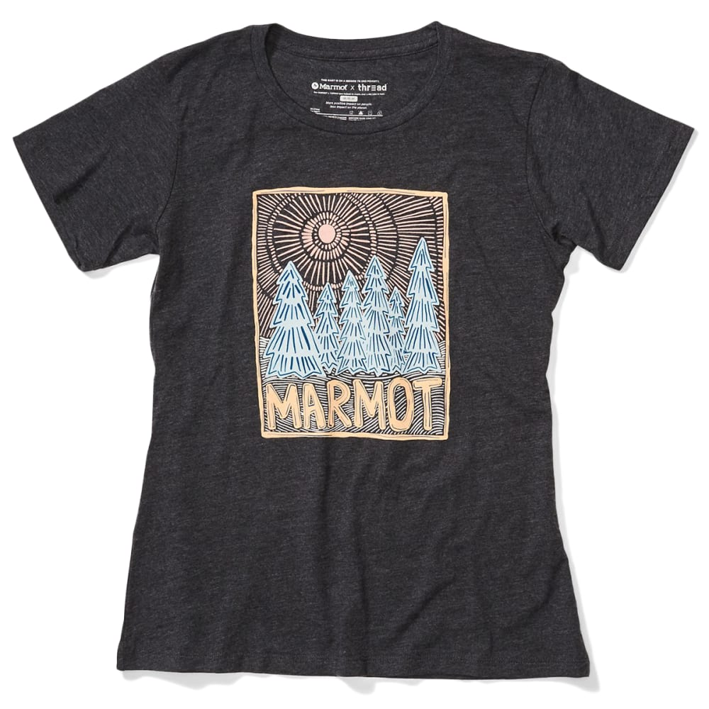 MARMOT Women's Woodblock Short-Sleeve Tee - 1204 CHARCOAL HEATHE