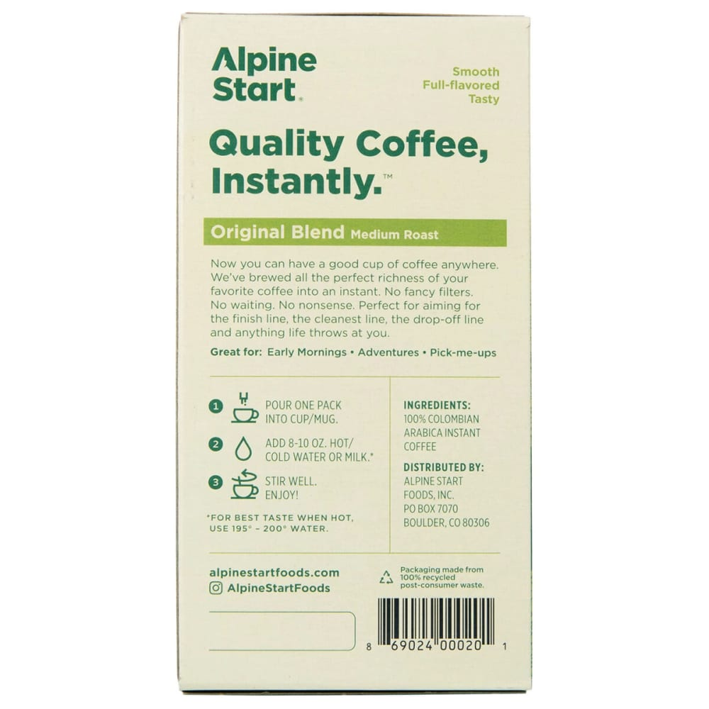 ALPINE START Original Blend Instant Coffee - NO COLOR