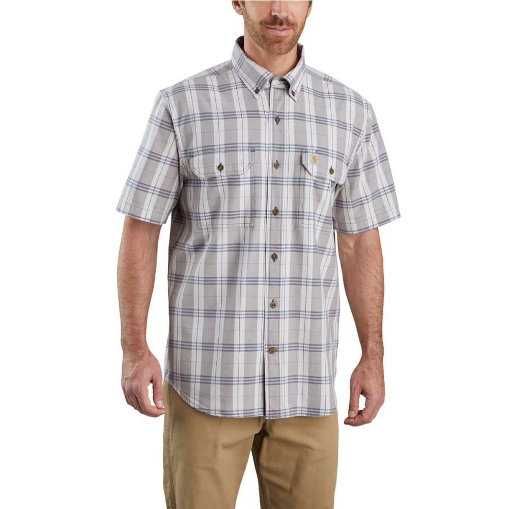 CARHARTT Men's Short-Sleeve Original Fit Midweight Plaid Shirt - STL STEEL