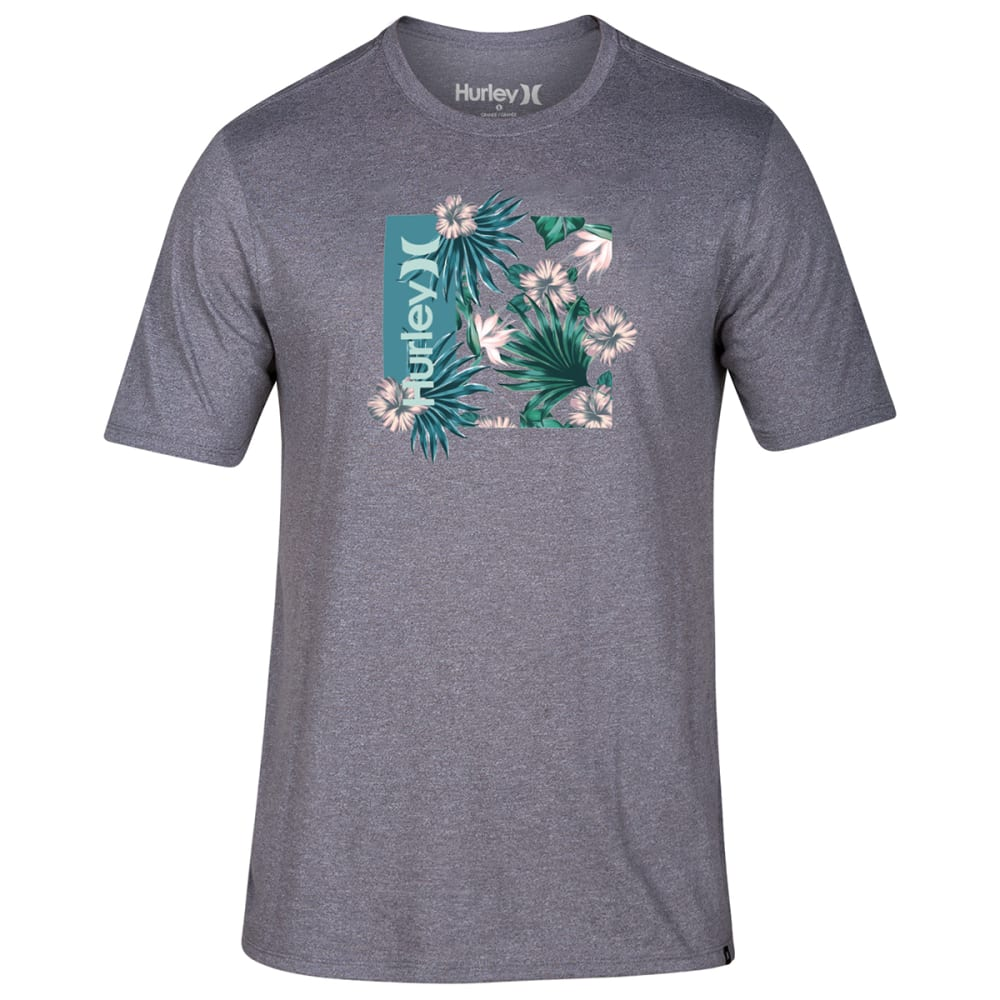 HURLEY Men's Short-Sleeve One & Only Floral Box Tee - 063 DK GREY HTR