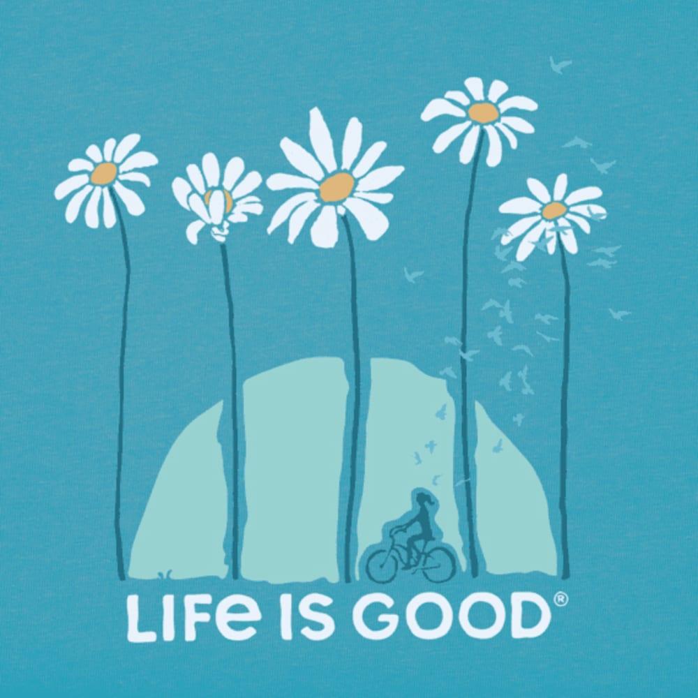LIFE IS GOOD Women's Short-Sleeve Towering Daisies Bike Crusher Tee - COASTAL BLUE