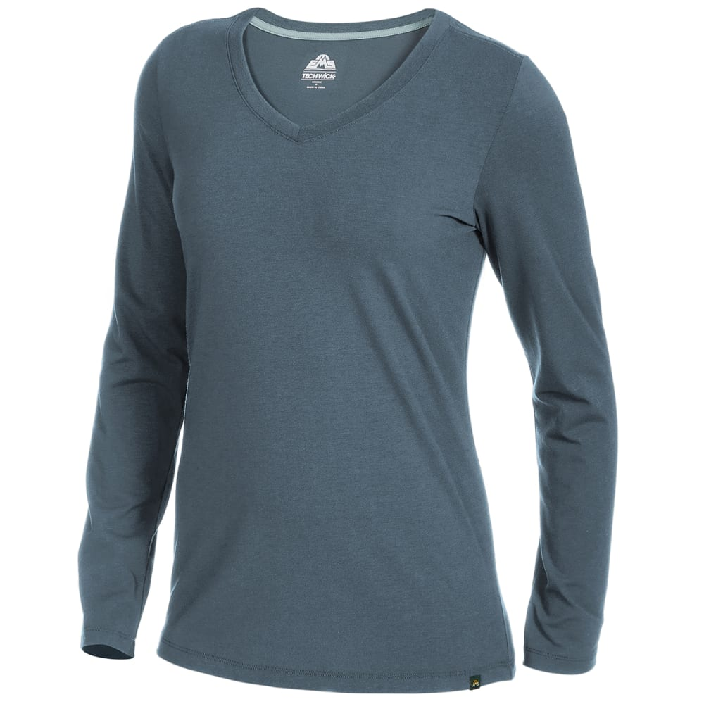 EMS Women's Vital Peak Long-Sleeve V-Neck Tee - STORMY WEATHER