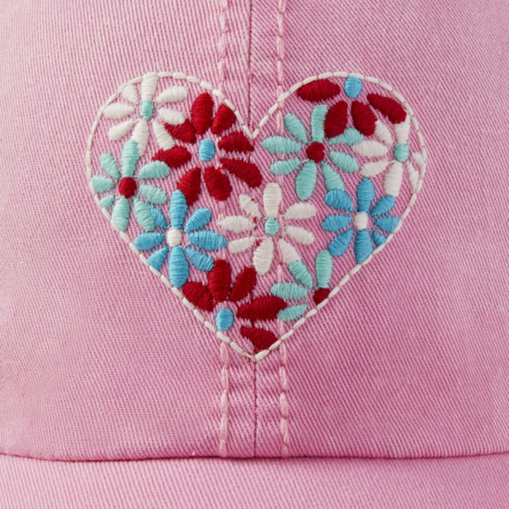 LIFE IS GOOD Women's Flower Heart Sunwashed Chill Cap - HAPPY PINK