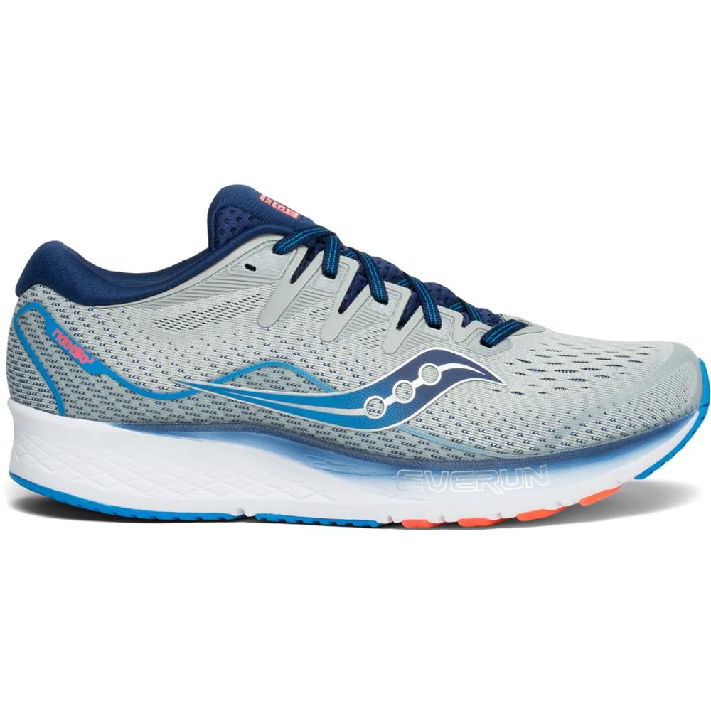 SAUCONY Men's Ride ISO 2 Running Shoe, WIDE - GREY/BLU-1