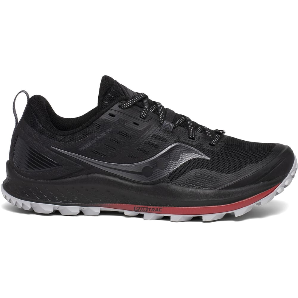 SAUCONY Men's Peregrine 10 Trail Running Shoe, WIDE - BLACK/RED-20