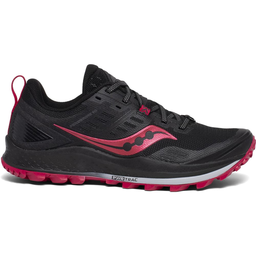 SAUCONY Women's Peregrine 10 Trail Running Shoes, Wide - BLACK/BARBERRY-20