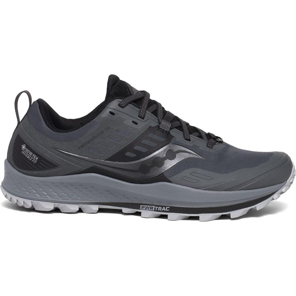 SAUCONY Men's Peregrine 10 GTX Waterproof Trail Shoe - GREY/BLK-1