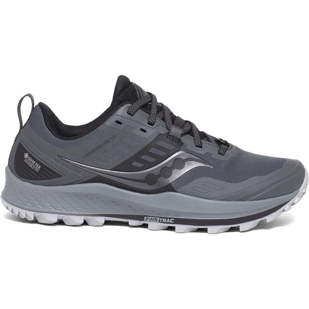 SAUCONY Women's Peregrine 10 GTX Waterproof Trail Running Shoe - GREY/BLK-1