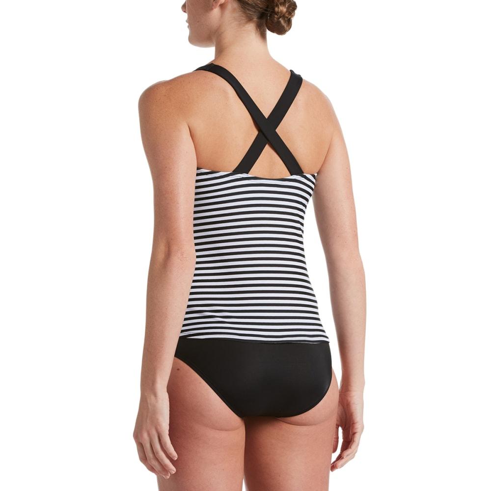 NIKE Women's Laser Stripe Tankini Swimsuit Top - 001 BLACK