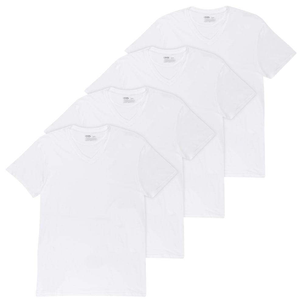 CHAPS Men's Essentials V-Neck Short-Sleeve Tee, 4 Pack M