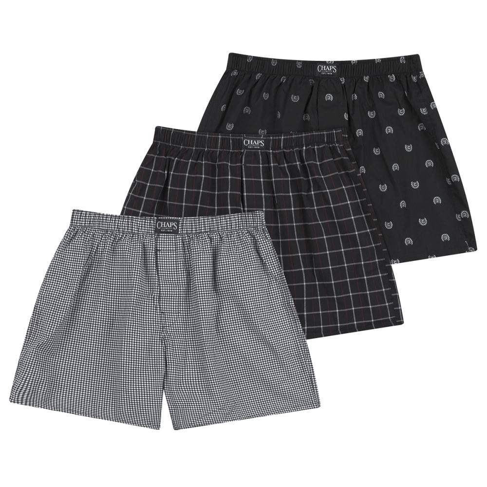CHAPS Men's Essential Woven Boxers, 3 Pack L
