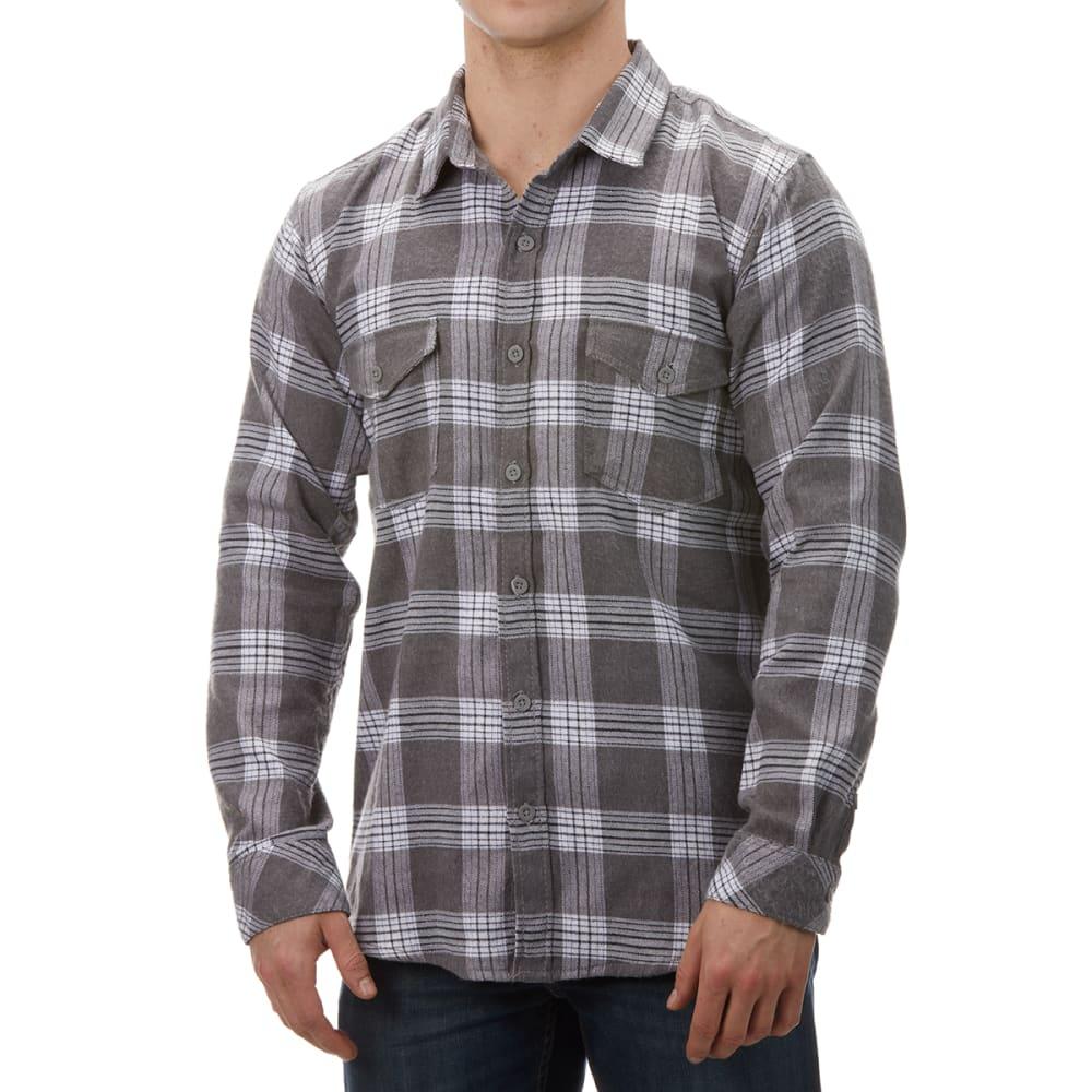 BURNSIDE Men's Button-Down Flannel Shirt - GREY