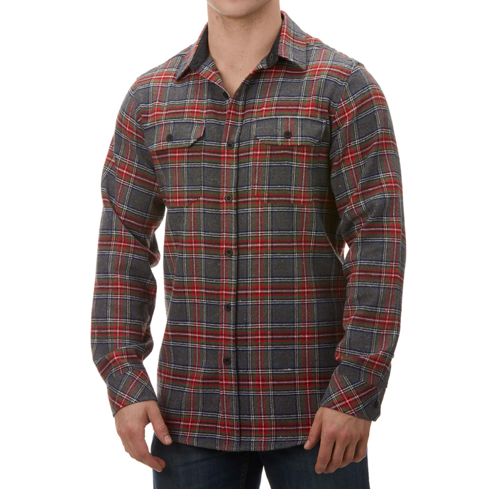 BURNSIDE Men's Plaid Flannel Shirt - GREY