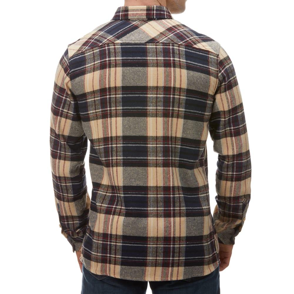 BURNSIDE Men's Long-Sleeve Woven Flannel Shirt - TAN