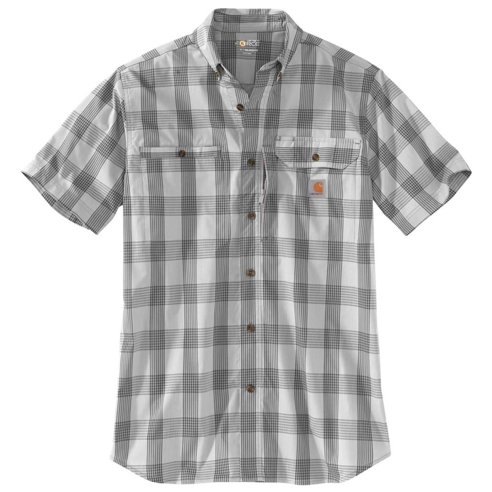 CARHARTT Men's Force Ridgefield Plaid Short-Sleeve Shirt - 066 ASPHALT