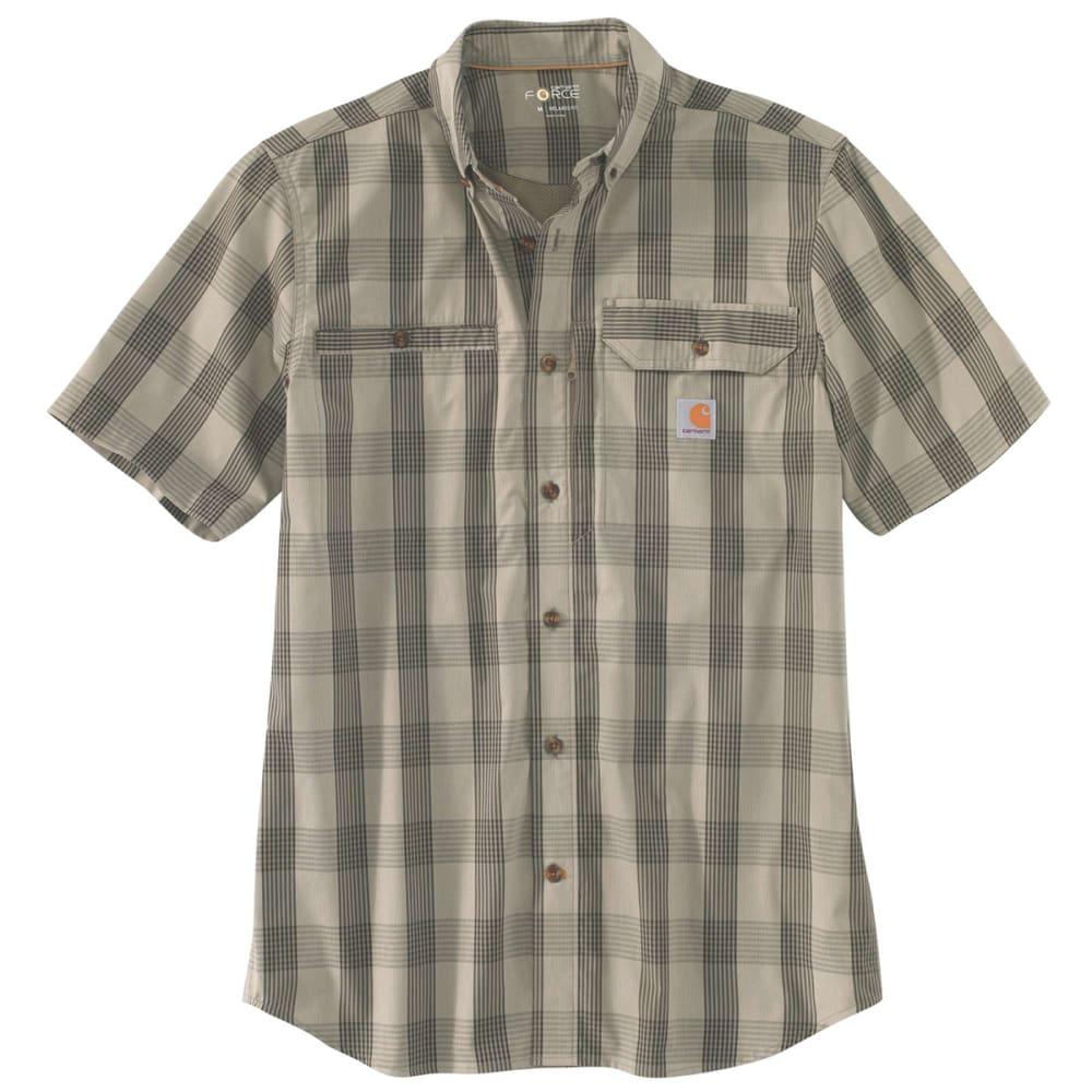 CARHARTT Men's Force Ridgefield Plaid Short-Sleeve Shirt - 391 BURNT OLIVE