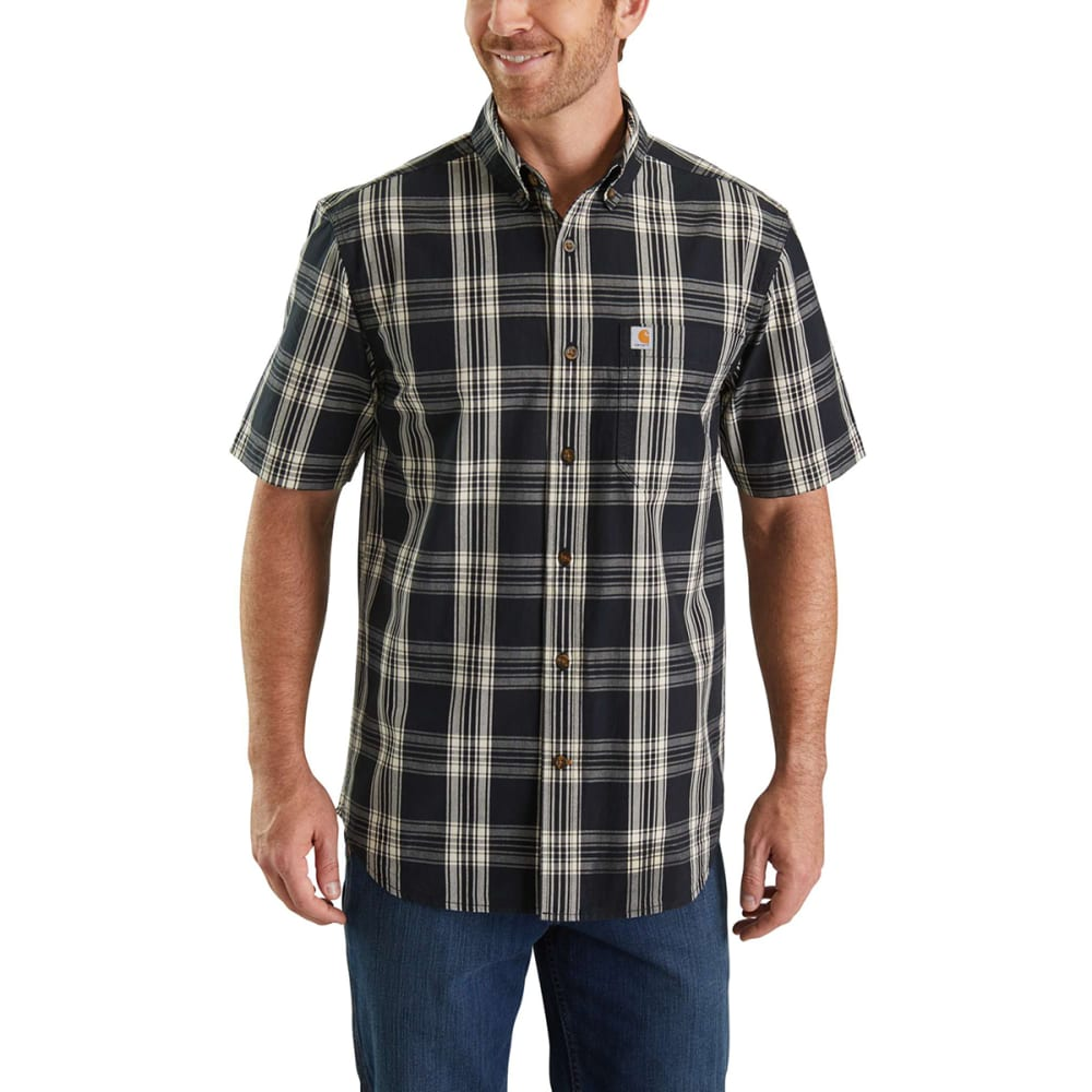 CARHARTT Men's Essential Plaid Button-Down Short-Sleeve Shirt - 001 BLACK