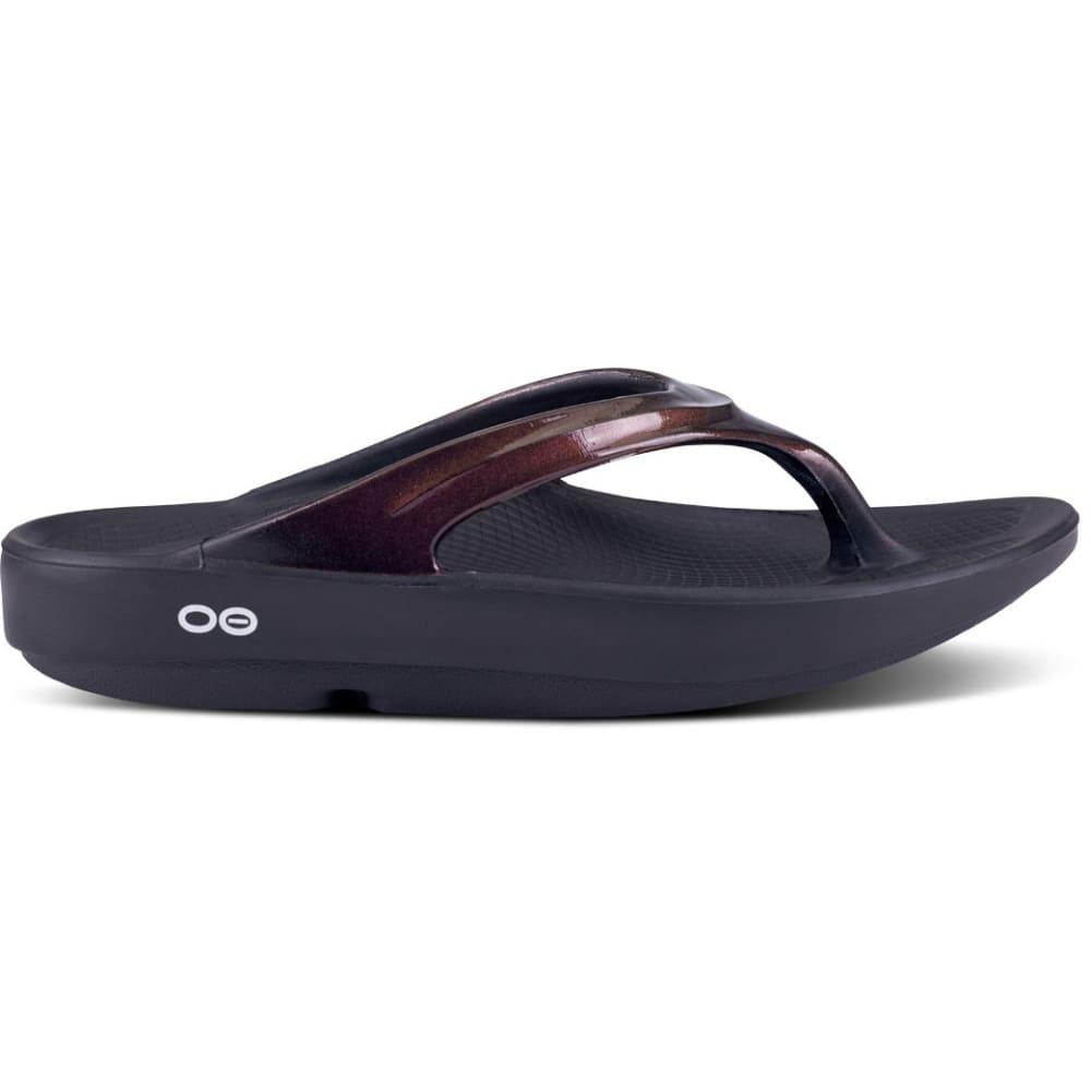 OOFOS Women's Oolala Luxe Sandal - BLACK/CABERNET