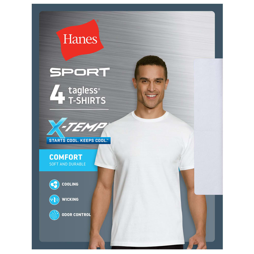 HANES Men's Ultimate X-Temp Sport Crewneck Undershirts, 4-Pack S